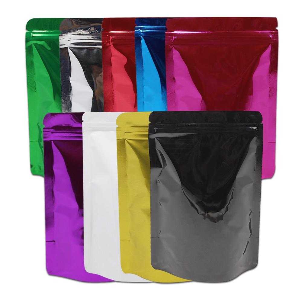 Heat Seal Ziplock Mylar Package Bag Dried Flowers Beans Food Storage Pouches Zipper Aluminum Foil Stand Up Reusable Bag 8.5*13cm