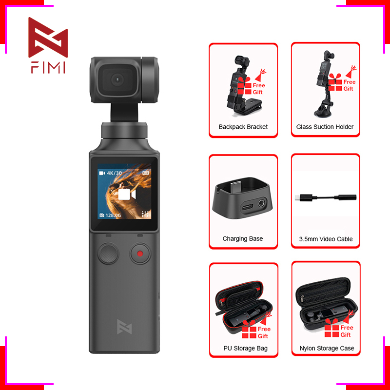 FIMI PALM 3-Axis <font><b>4K</b></font> UHD Handheld <font><b>Gimbal</b></font> <font><b>Camera</b></font> 128 Degree Wide Angle Smart Track Pocket Video <font><b>Camera</b></font> Stabilizer Accessories Gift image