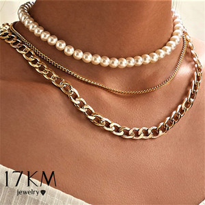 17KM Punk Multi Layered Pearl Choker Necklace For Women Statement Female Gold Cuban Thick Chain Necklaces Collar Jewelry