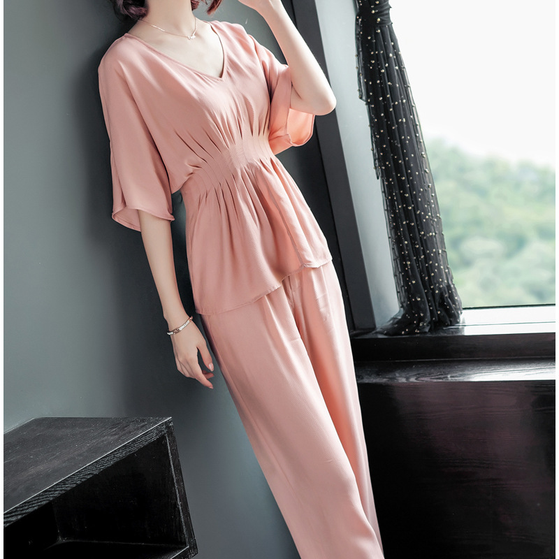 Western Style Two-Piece Set Women's 2019 Summer New Style Elegant Waist Hugging Slimming V-neck Casual Loose Pants Set