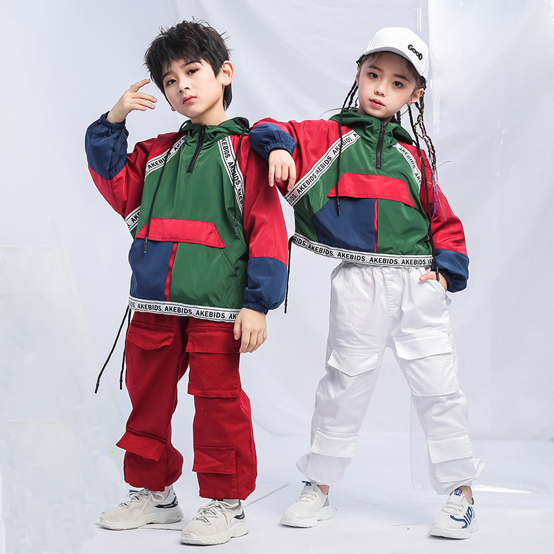 Kid Fashion Hip Hop Clothing Hoodie Sweatshirt Jacket Pullover Top Running Casual Pants For Girls Boy Dance Costume Clothes Wear
