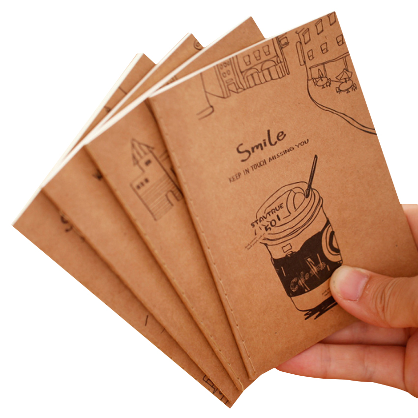 1pcs/lot Vintage Note Book Small Cartoon Smile Diary Notepads Retro Exercise Book Office School Supplies