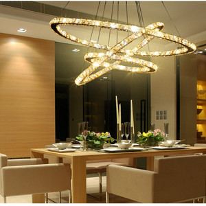Nordic Led chandelier crystal lustre with remote control Restaurant living room decoration Luminaire 1/2/3 rings hanging lamp