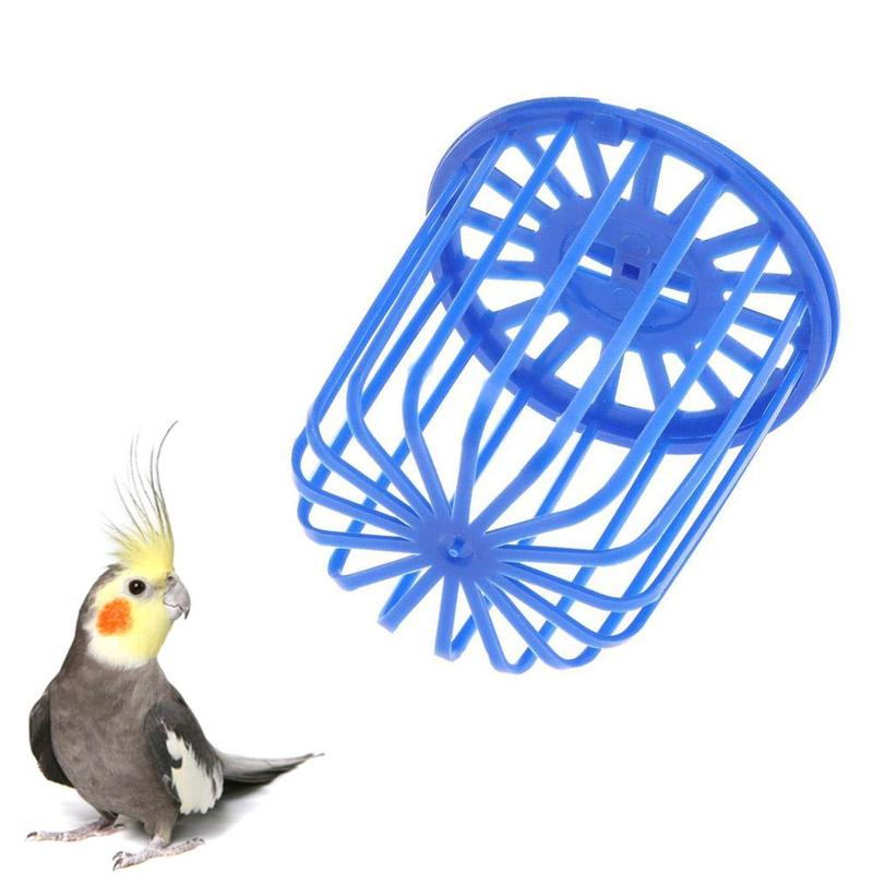 Cute Bird Parrot Feeder Cage Fruit Vegetable Holder Cage Accessories Hanging Basket Container Bird Supplies Plastic Bird Cage
