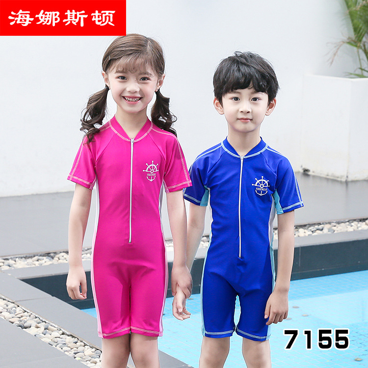 2019 KID'S Swimwear Men And Women Childrenswear Surfing Jumpsuit Small CHILDREN'S Sun-resistant Bathing Suit Baby Outdoor One-pi