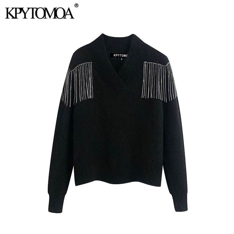 Vintage Stylish Beaded Fringe Applique Knitted Sweater Women 2020 Fashion V Neck Long Sleeve Female Pullovers Chic Tops