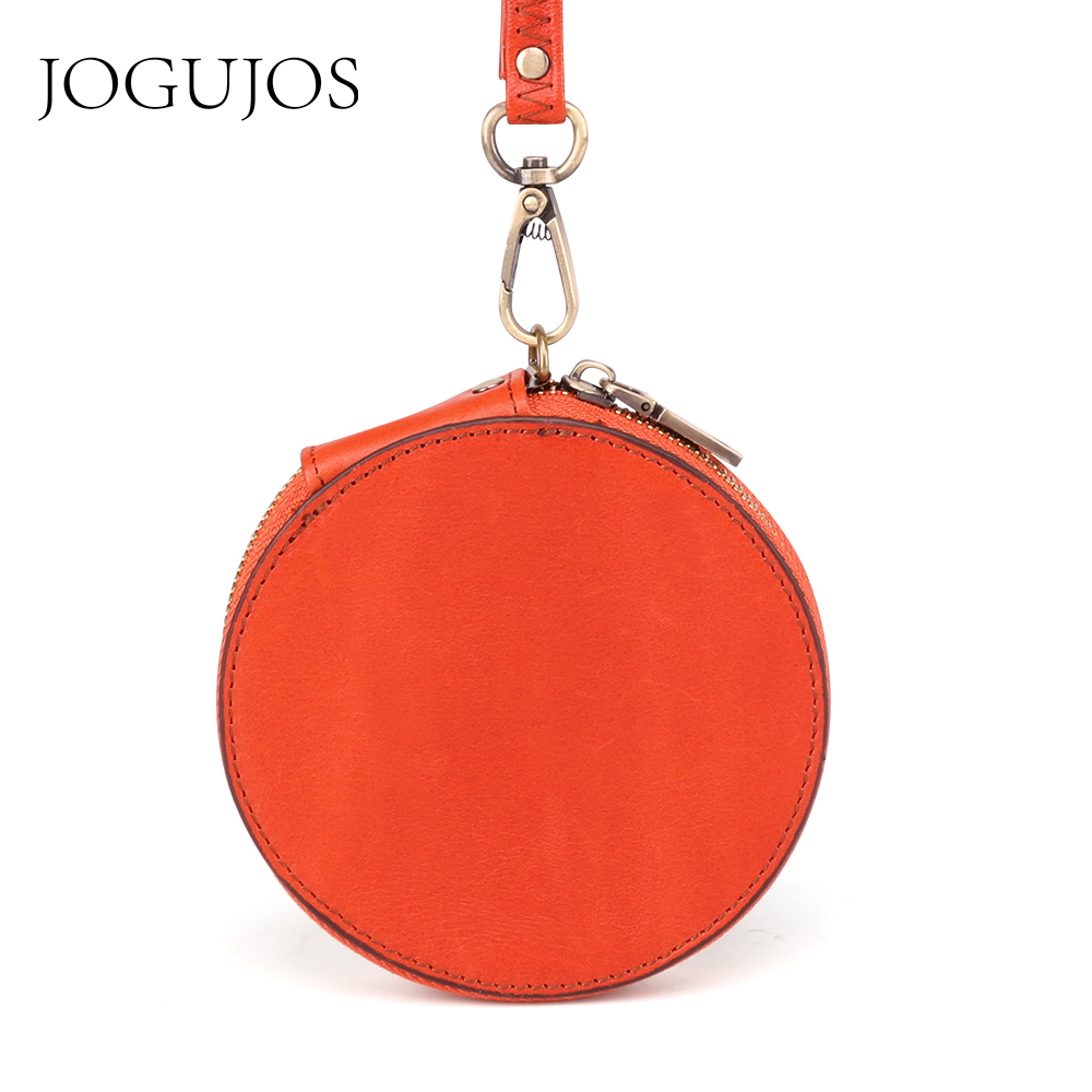 JOGUJOS Genuine Leather RIFD Wallet Unisex Credit Card Holder Wallet Men Women Mini Wallet Cowhide Design Round Coin Purse 2019