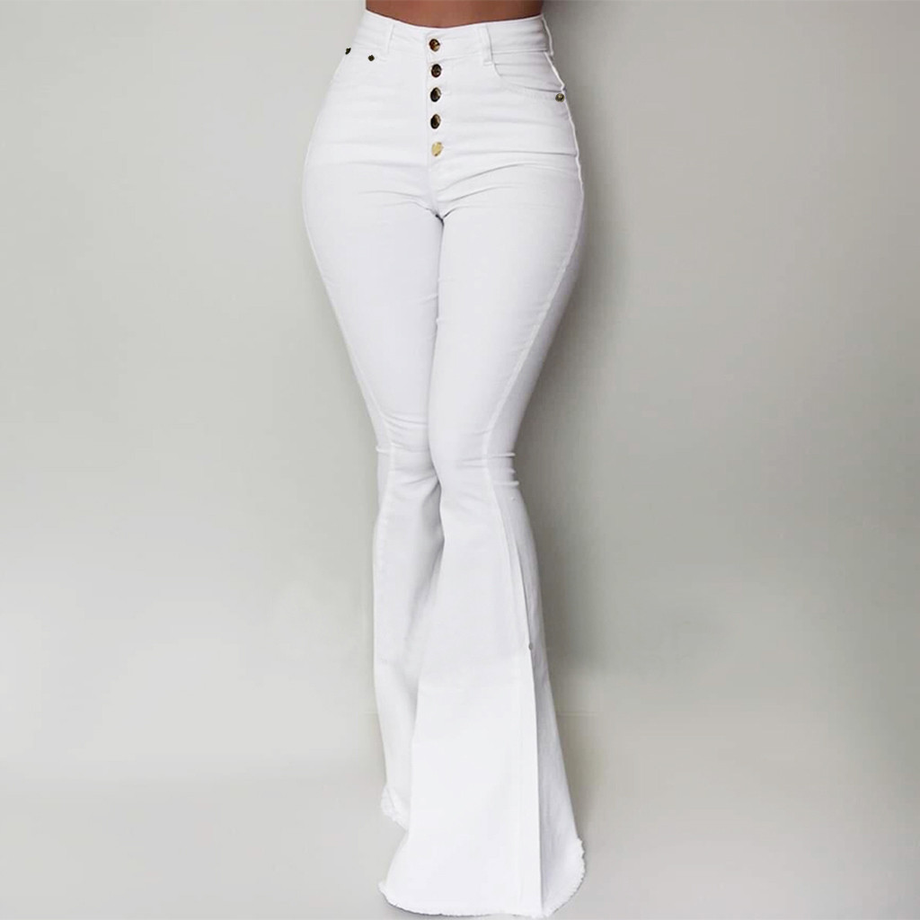 Stylish Women Big Flare   Pants   High Waist   Wide     Leg     Pant   Office Lady Autumn Wild Sexy Long Trousers Slim Skinny Casual Bottoms