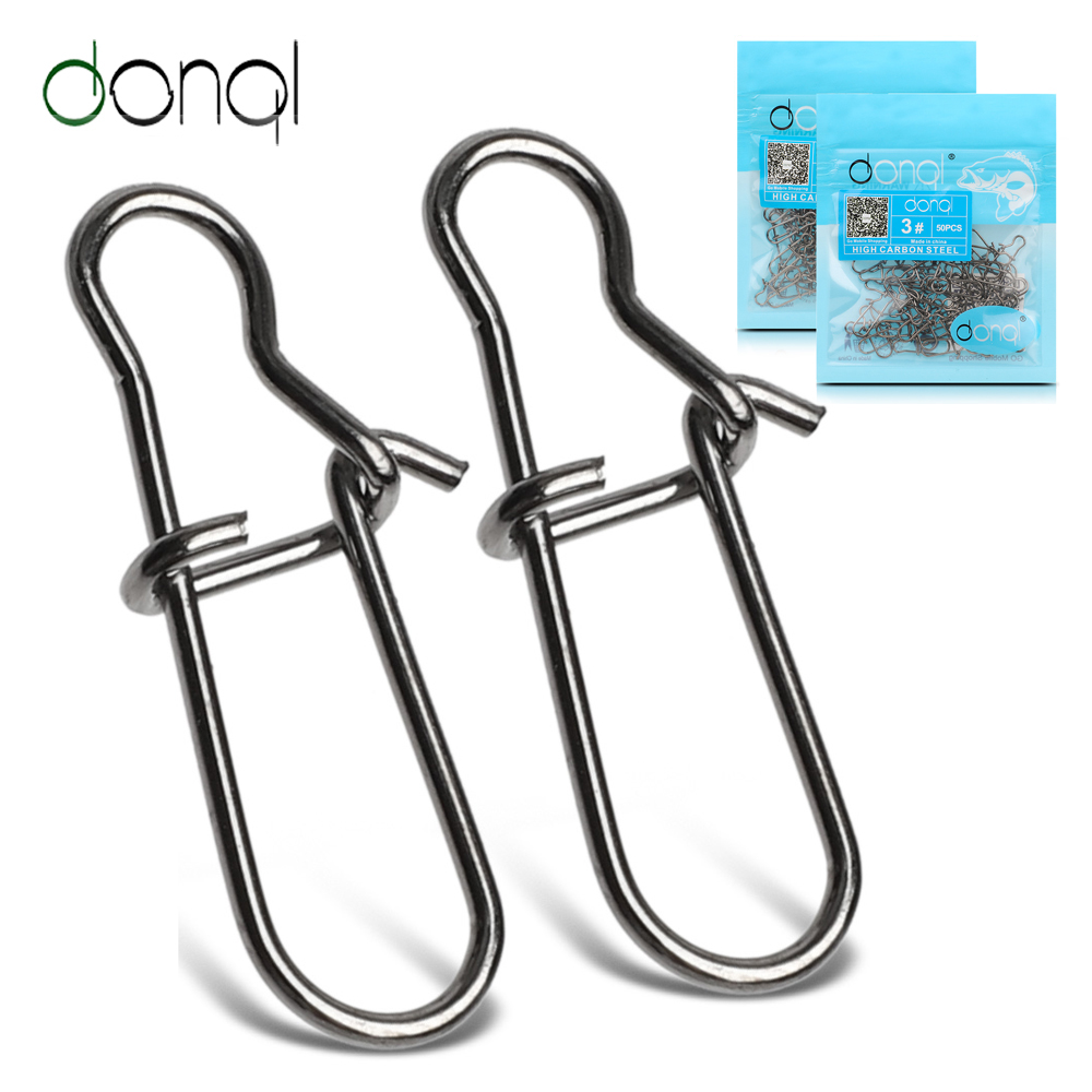 DONQL 20/50/100pcs Fast Clip Lock Fishing Connector Stainless Steel Safety Pin Swivel Fishing Tackle Tool For Lures Fishhooks
