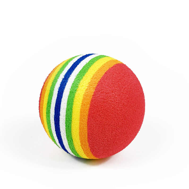 1 PC เส้นผ่านศูนย์กลาง 3.5 ซม.ของเล่นสุนัขการฝึกอบรม Interactive Cat Scratcher ของเล่น Rainbow Play Ball สำหรับแมว EVA Ball สัตว์เลี้ยงสุนัข Chew ของเล่น