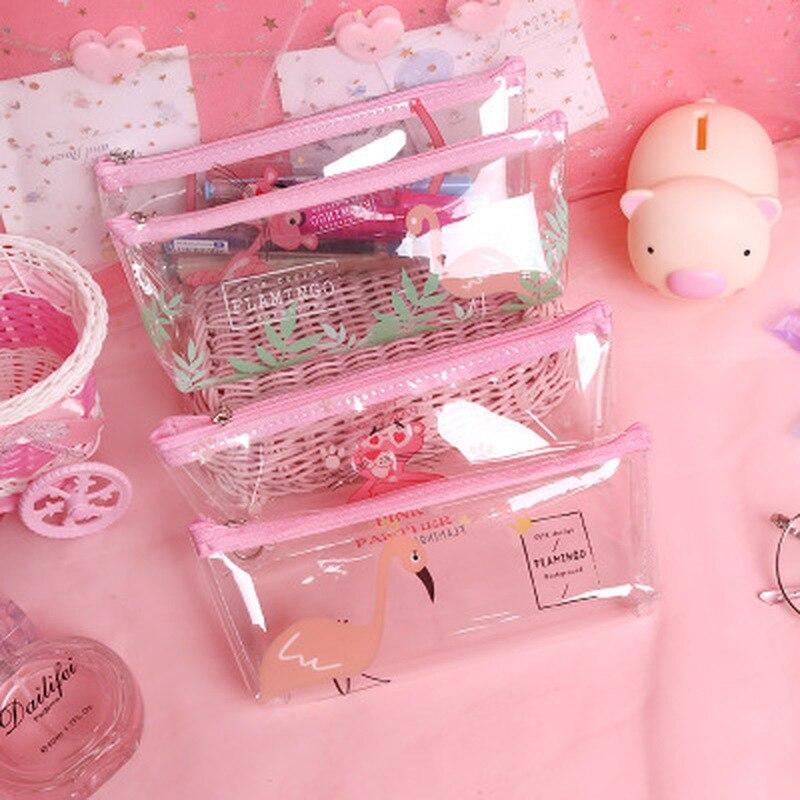 1pcs Flamingo Pencil Case Cute Student  Pencil Pouch Novelty Stationery Pen Case High Capacity Korean Bag Kawaii School Supplies