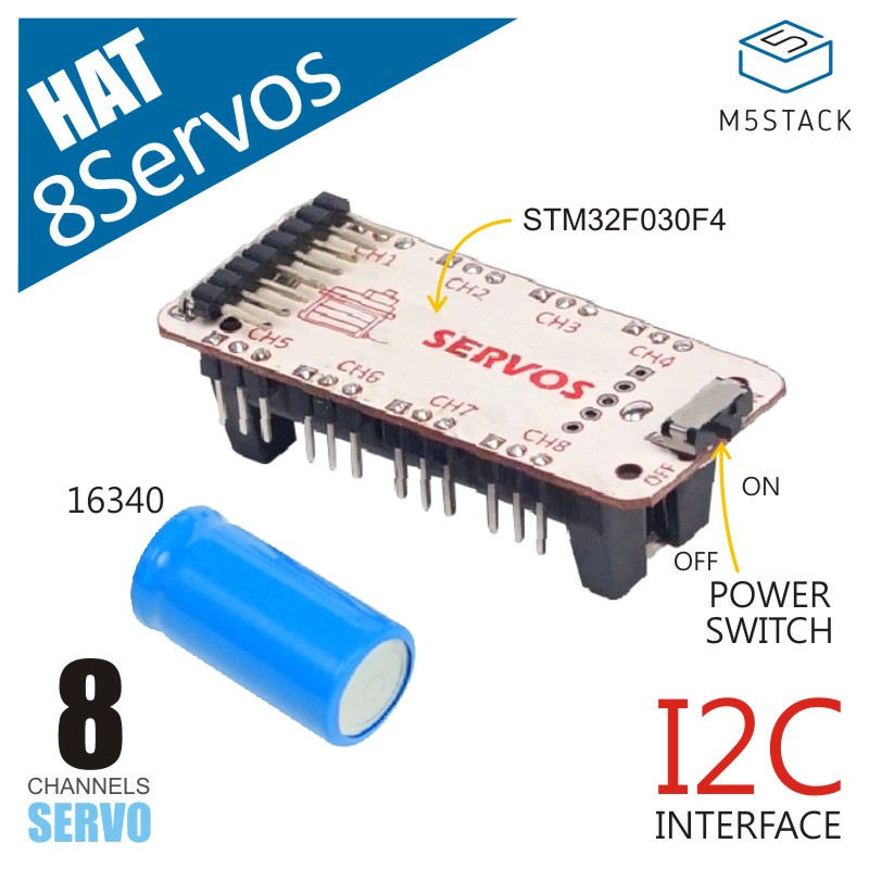 M5StickC ESP32 Mini IoT Development Board Compatible 8-Way Servos HAT STM32F030F4 Microcontroller