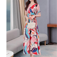 A Line Loose Dresses 2020 summer new printed chiffon Dress Short sleeve waist V neck was thin Print Big swing dress