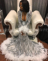 Long Sparkly Prom Dresses 2020 V-neck Long Sleeve Silver Sequin White Feather Black Girl African Gala Mermaid Prom Dress