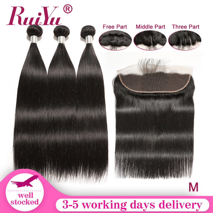 Pre Plucked Frontal With Bundles Remy Hair Straight Hair Bundles With Frontal With Baby Hair Malaysia Human Hair RUIYU