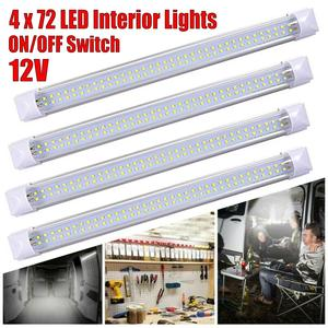 4 pcs Universal 72 LED Car Interior Light Reading Light Indoor Ceiling Lamp Car Van Bus Caravan ON/OFF Switch 12V 12