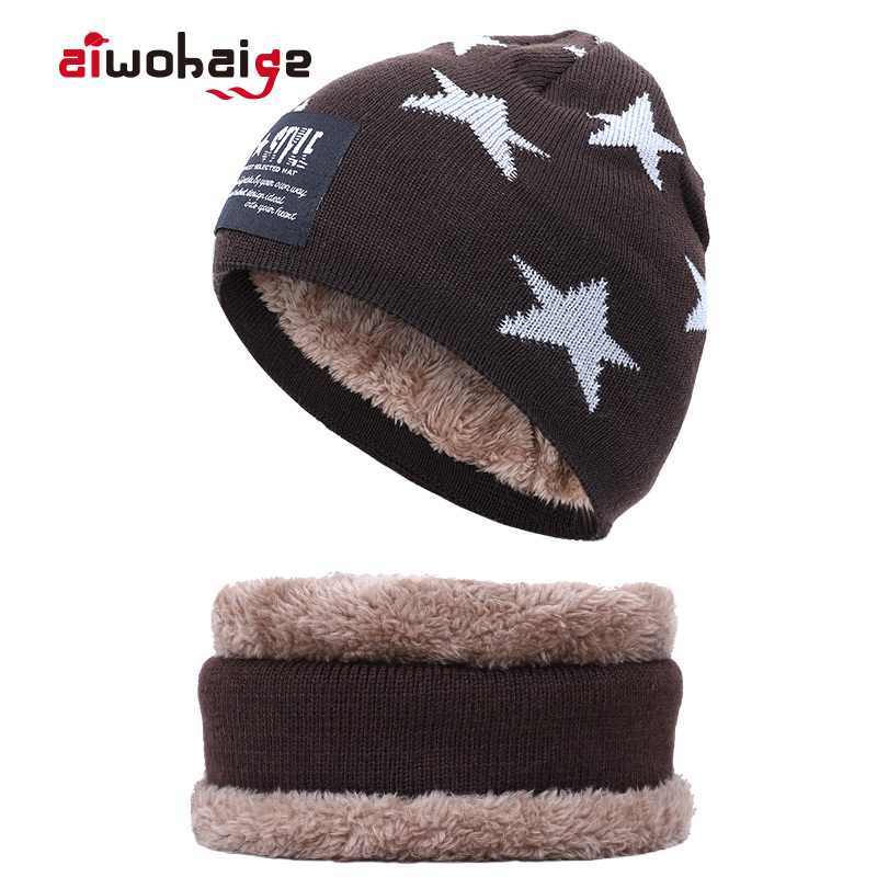 New High Quality Winter Children's Knit Beanie Scarf 2 Pieces Set Kids Boys Girls Thick Lining Plus Velvet Hat Balaclava Cap