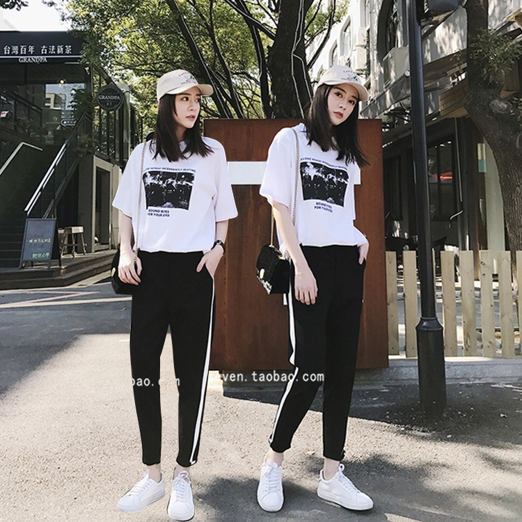 203 # WOMEN'S Suit Harajuku Summer New Style Fashion Piece College Style Korean-style Loose-Fit Sports Casual Students