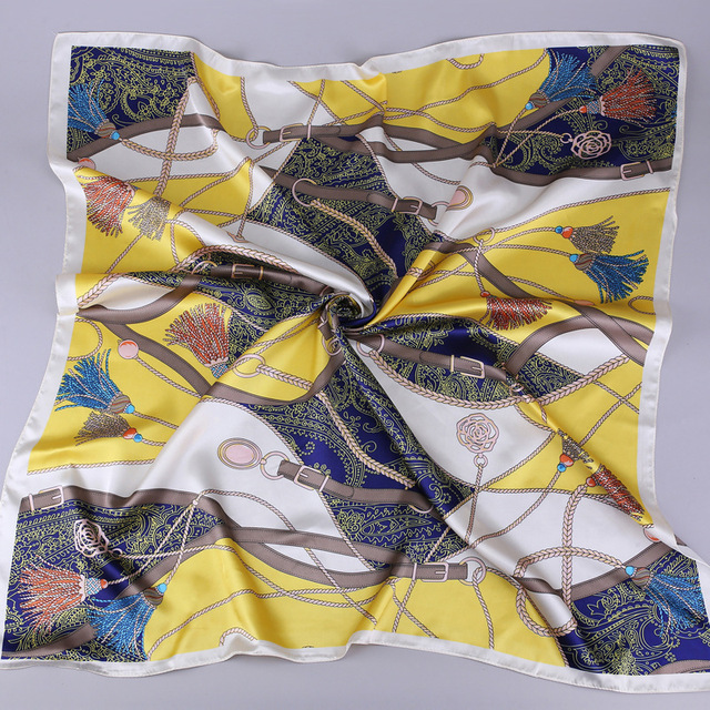 2019 Fashion Kerchief Silk Satin Neck Scarf For Women Print Hijab Scarfs Female 90*90cm Square Shawls and Wraps Scarves For Lady 8