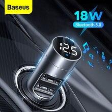 Baseus trasmettitore FM adattatore di alimentazione Bluetooth per ricevitore per auto Kit Radio 18W lettore MP3 USB Aux vivavoce modulatore FM Wireless