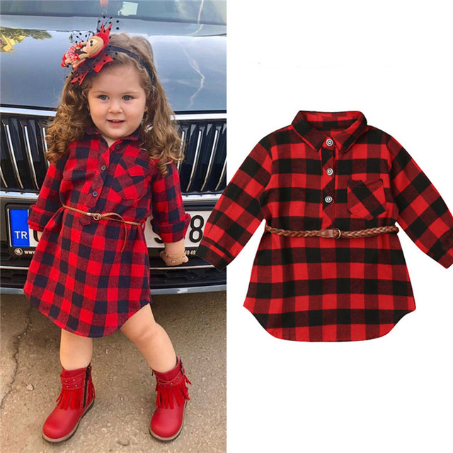 0-5T Christmas Toddler Newborn Kids Baby Girls Dress Red Plaid Cotton Princess Party Long Sleeve Dress Clothes Girl Winter Dress