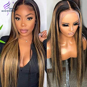 Brazilian 13x4 Straight Honey Blond Ombre Color Highlight 150% Lace Front Human Hair Wigs For Black Women Remy Modern Show Hair