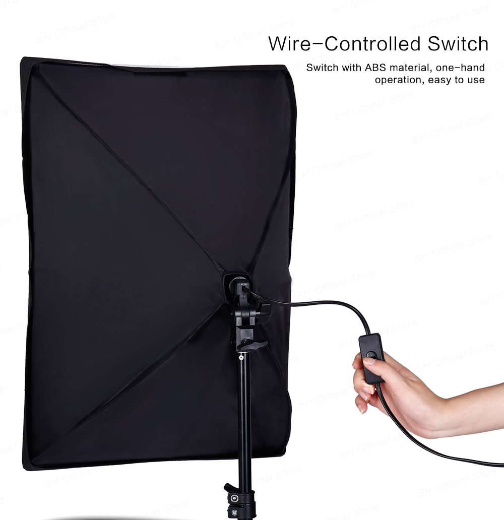 Hbbf190b378d2403fbecbff845f4855f40 Photography 50x70CM Softbox Lighting Kits Professional Light System With E27 Photographic Bulbs Photo Studio Equipment
