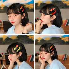 Girl heart cartoon fruit cloth bb clip Korean children ins simple wild Liu letter seaside back head creaseless hair