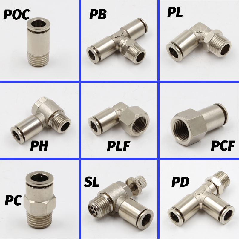 "Pneumatic Connectors BSPT M5 1/8"" 1/4"" 3/8"" 1/2"" Male Nickel Plated Brass Push In Quick Connector Release Air Fitting Plumbing()"