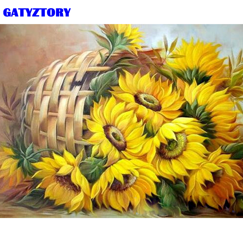 GATYZTORY Frame Sunflower DIY Painting By Numbers Acrylic Paint By Numbers Modern Wall Art Picutre Handpainted Oil Painting Arts