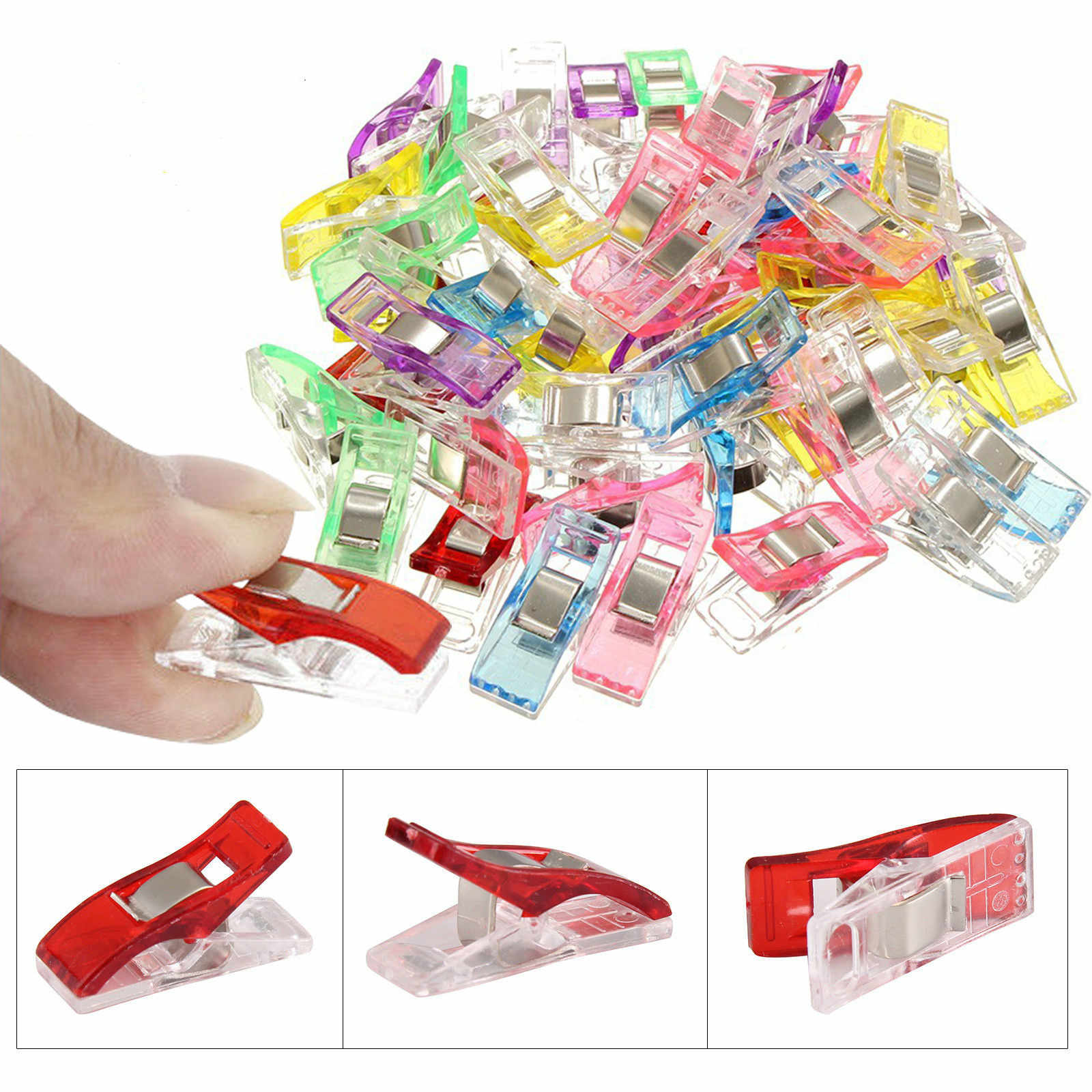 YOSIYO 50Pcs//set DIY Plastic Garment Clips Sewing Knitting Fabric Clothing Clip Quilting Patchwork Binding Clamps Random Color