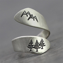 Vintage silver color men ring open hand make mountain peak tree forest adjustable wedding