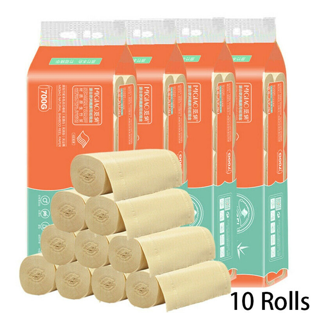 10Pcs Three Layer Toilet Tissue Natural Bamboo Pulp Facial Tissue Paper Domestic Paper Napkins Nviro Friendly Recycled Tissue