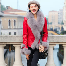Genuine Sheepskin Coat Winter Jacket Women Fox Fur Collar Down Jackets for Women Real Leather Jacket Chaqueta Mujer MY(China)