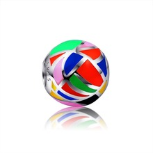 2017 SG  New Style 925 Sterling Silver Bead With colours of the rainbow Polishing Enamel Fit Pandora Bracelet