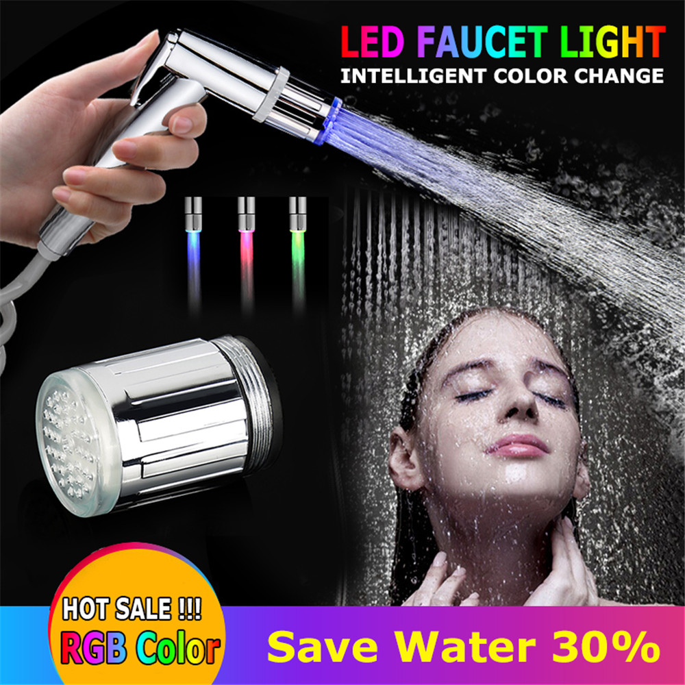 Temperature-controlled Led Faucet Light Temperature Sensor Intelligent LED Water Tap Nozzle With Adapter No Need Battery