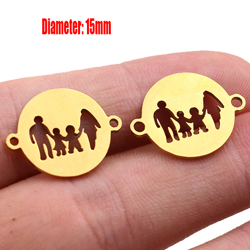 5pcs Family Chain Stainless Steel Pendant Necklace Parents and Children Necklaces Gold/steel Jewelry Gift for Mom Dad New Twice - Цвет: Gold 11