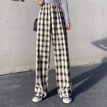 INS fajne damskie workowate niebieskie spodnie Lady ponadgabarytowe szerokie nogawki Plaid spodnie Harem spodnie Student jesień fioletowy różowy długie spodnie Flare tanie i dobre opinie Chin Sweety POLIESTER Linen Pełna długość PATTERN CN (pochodzenie) Na wiosnę jesień Woemn Pants Na co dzień Szerokie spodnie