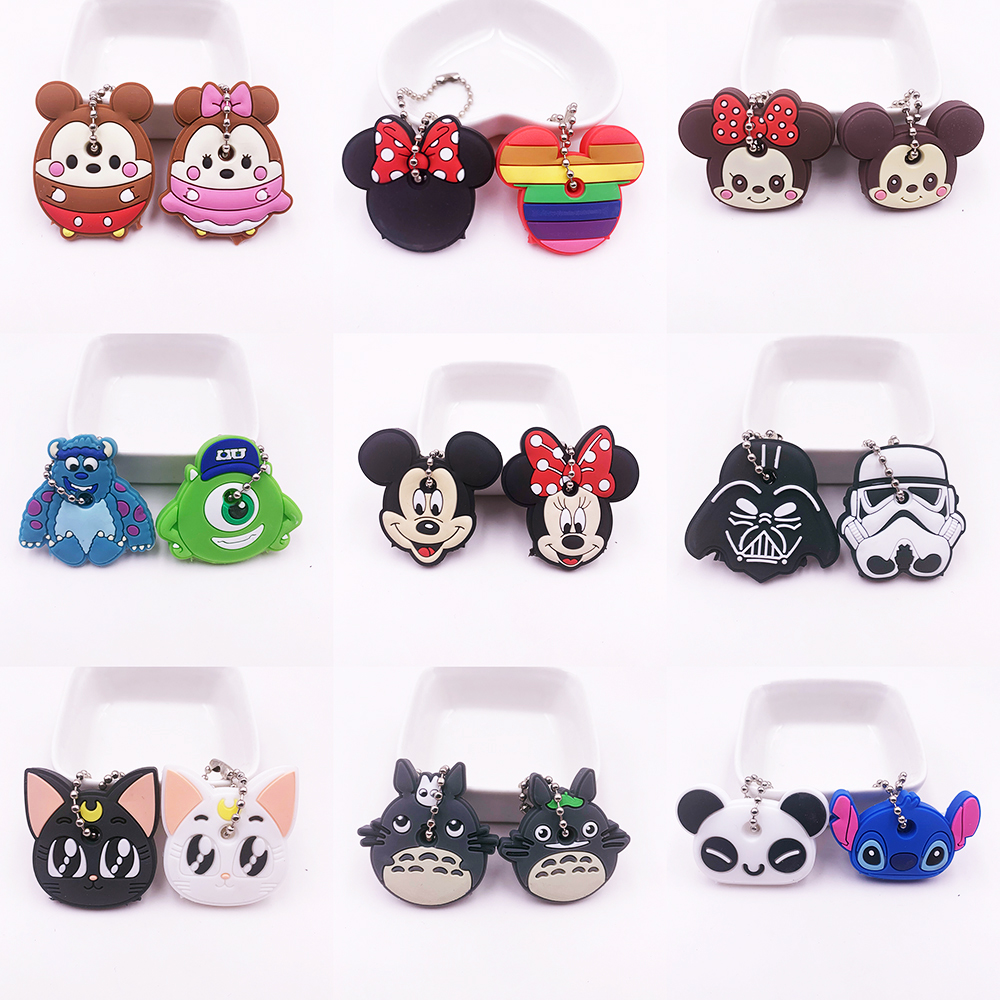 Free Shipping 2Pcs Cute Cartoon Keychain Silicone Stitch Protective Key Case Cover For Women Key Control Dust Cap Holder Gift