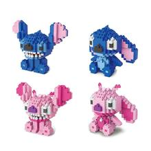 hot LegoINGlys creators cartoon image Beautiful Stitch and Angie mini micro diamond building blocks model bricks toys for gifts