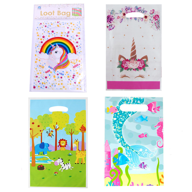 Unicorn Party Bags For Kids Birthday Decoration Unicorn Mermaid Jungle Gift Bags Plastic Wedding Party Gift Bag With Handles