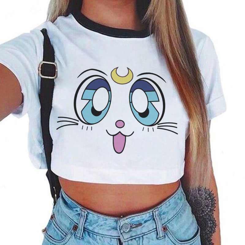New Fashion Sailor Moon Summer T-Shirt Women Harajuku Short Sleeve Fun Ulzzang T Shirt Cute Cat Tshirt Cartoon Top Tees Female(China)