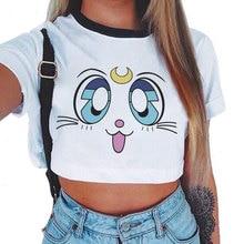 New Fashion Sailor Moon Summer T-Shirt Women Harajuku Short Sleeve Fun Ulzzang T Shirt Cute Cat Tshi
