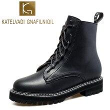 KATELVADI Size 34-40 New Women Ankle Boots Black PU Leather With Plush Motorcycle Warm Ladies  K-532