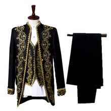 Комплект из 3 предметов, мужской королевский костюм для суда, смокинг(пиджак+ жилет+ брюки), приталенная одежда принца, роскошные свадебные, вечерние смокинги для выпускного вечера