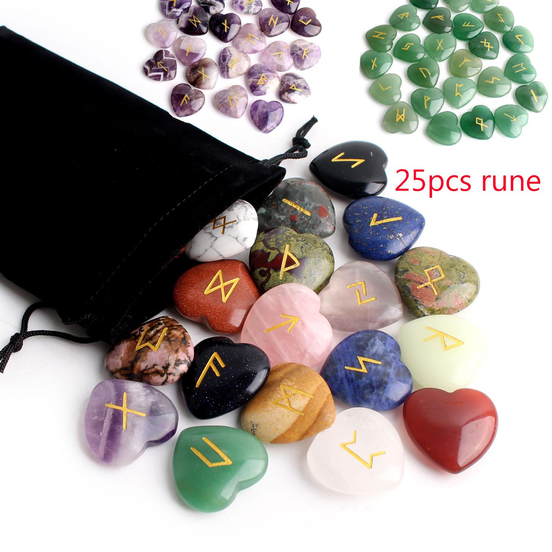 25Pcs Crystal Heart Natural Rune Stones Divination Meditation Engraved Runes Reiki Archangel Chakra Symbols Palm Stone Gift