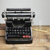 Retro Metal Typewriter Model Vintage Handicrafts Antique Typing Machine Home Decoration Crafts Gift Model Building Kits