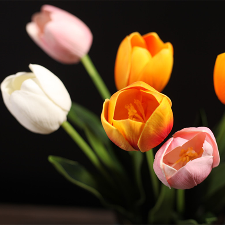 Artificial Flower 10 pcs High Quality PU Real Touch Tulip Fake Flower for home decor