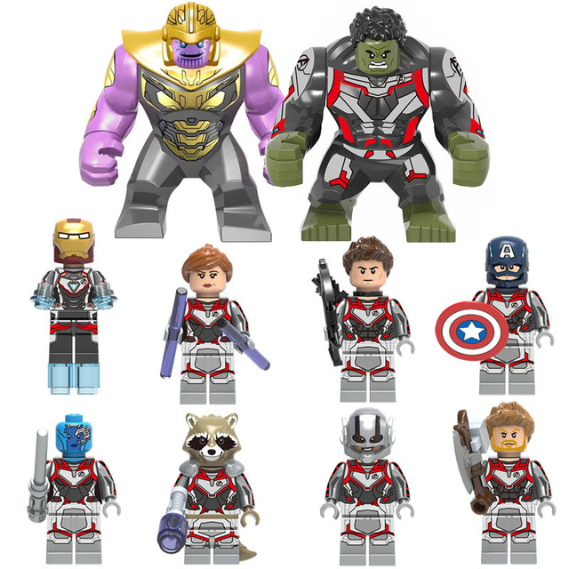 10pcs set Legoinglys Marvel Avengers Alliance 4 Super Hero Ironman Hulk Thor Captain US Thanos Black