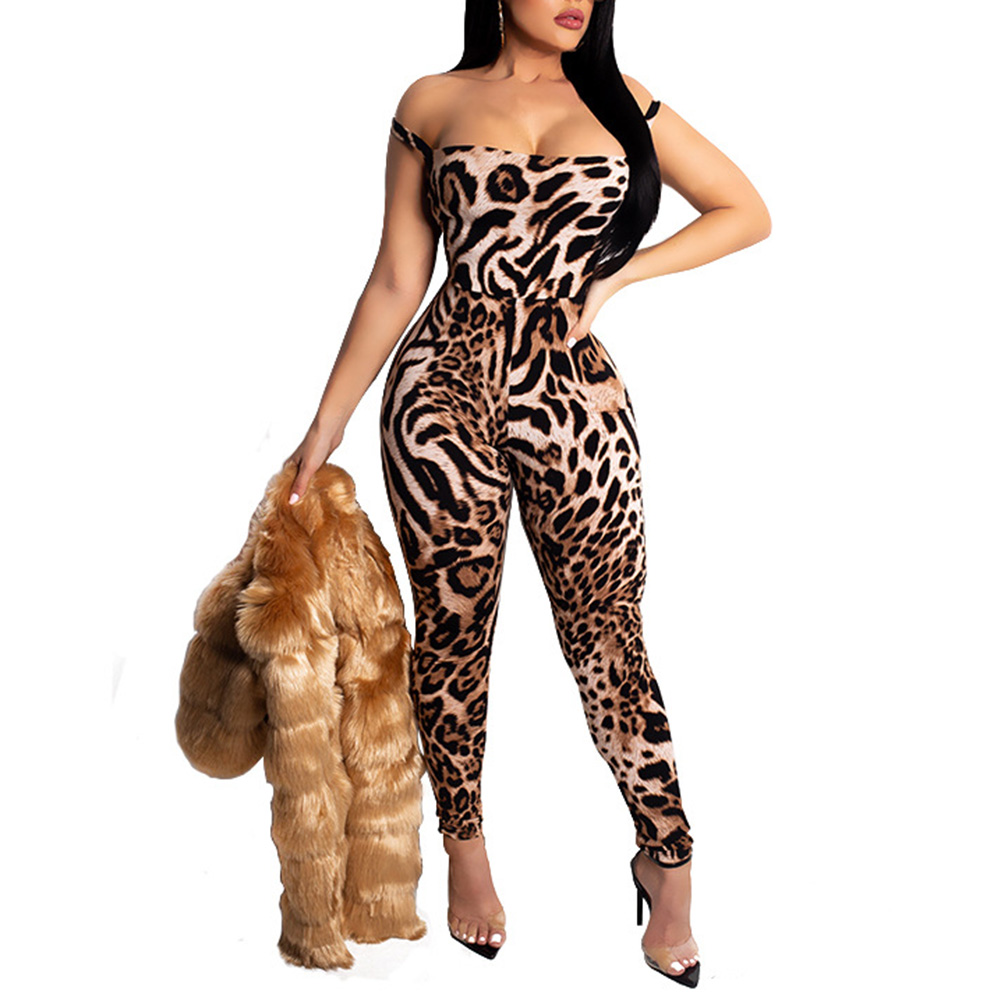 2019 New Women Sexy Leopard Printing   Jumpsuit   Backless Slim Up Sleeveless Long Female Rompers For Summer Beach Holiday Party